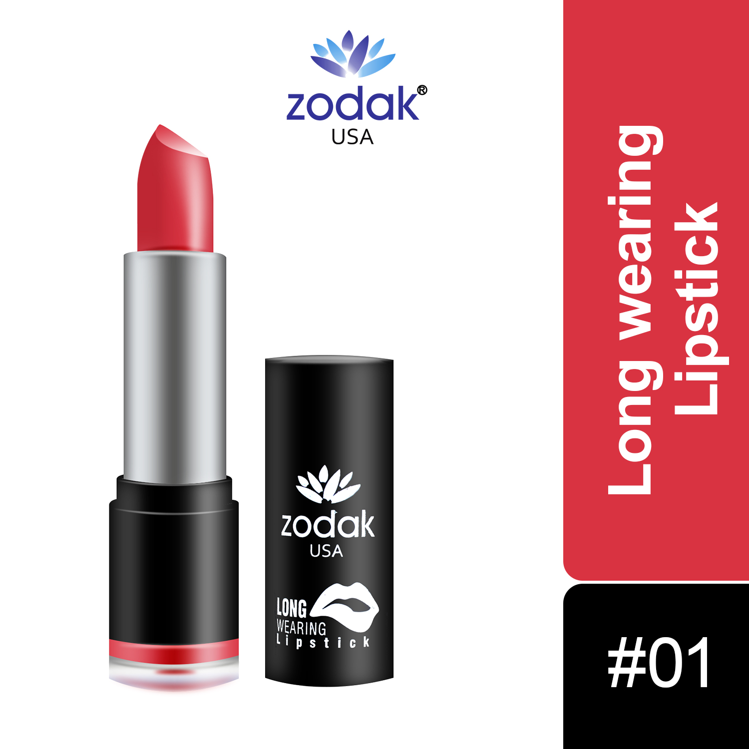 ZODAK Long Wearing Lipstick 3.8g (Rich Red, 3.8 g)