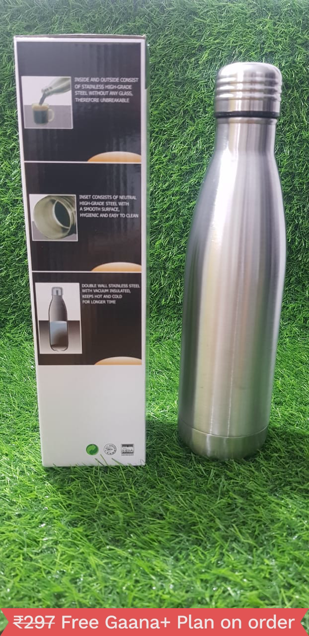 Health Mechanic double Wall Vacuum Flask Hot and Cold (Silver, 500 ml)