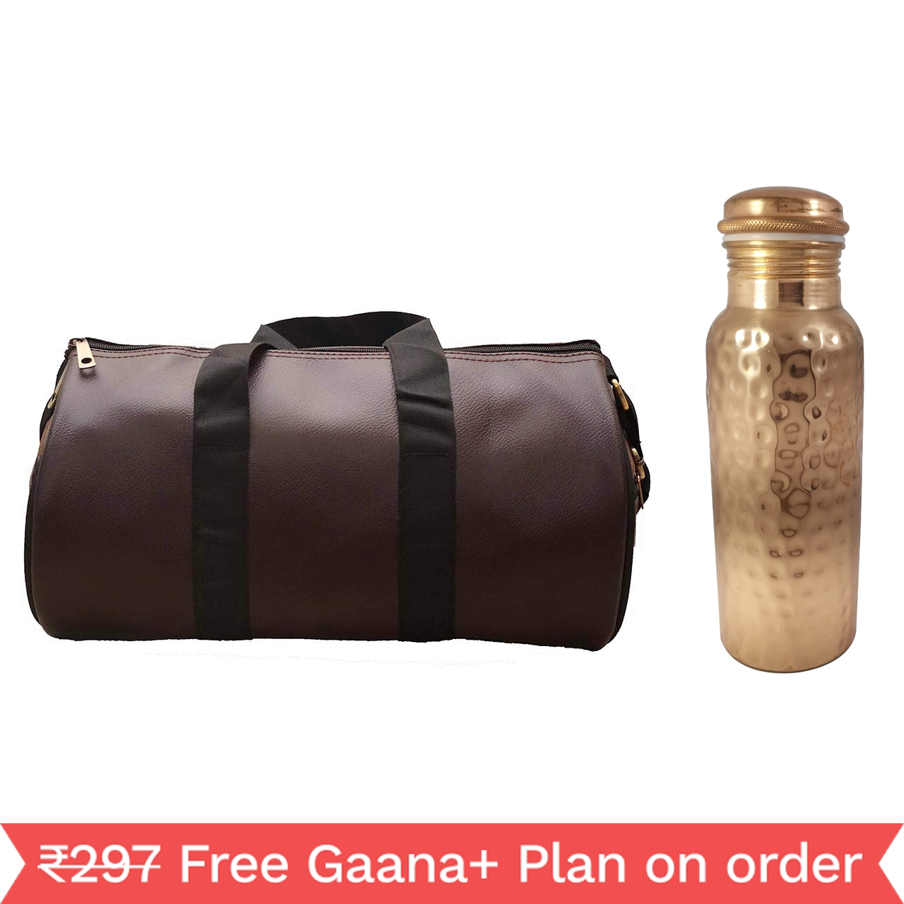 1 Copper 1000ml bottle & 1 Gym Bag - Diamond  1000 GymBag Dark Brown