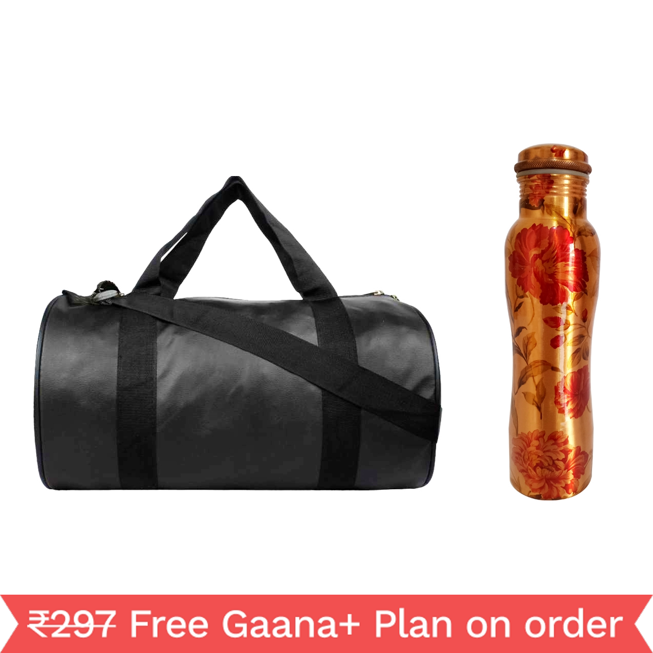 1 Copper 1000ml bottle & 1 Gym Bag - Curved Leaf   1000 GymBag Black