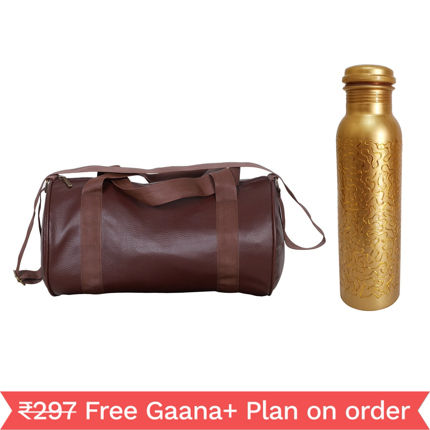 1 Copper 1000ml bottle & 1 Gym Bag - Embroided Golden   1000 GymBag Coffe