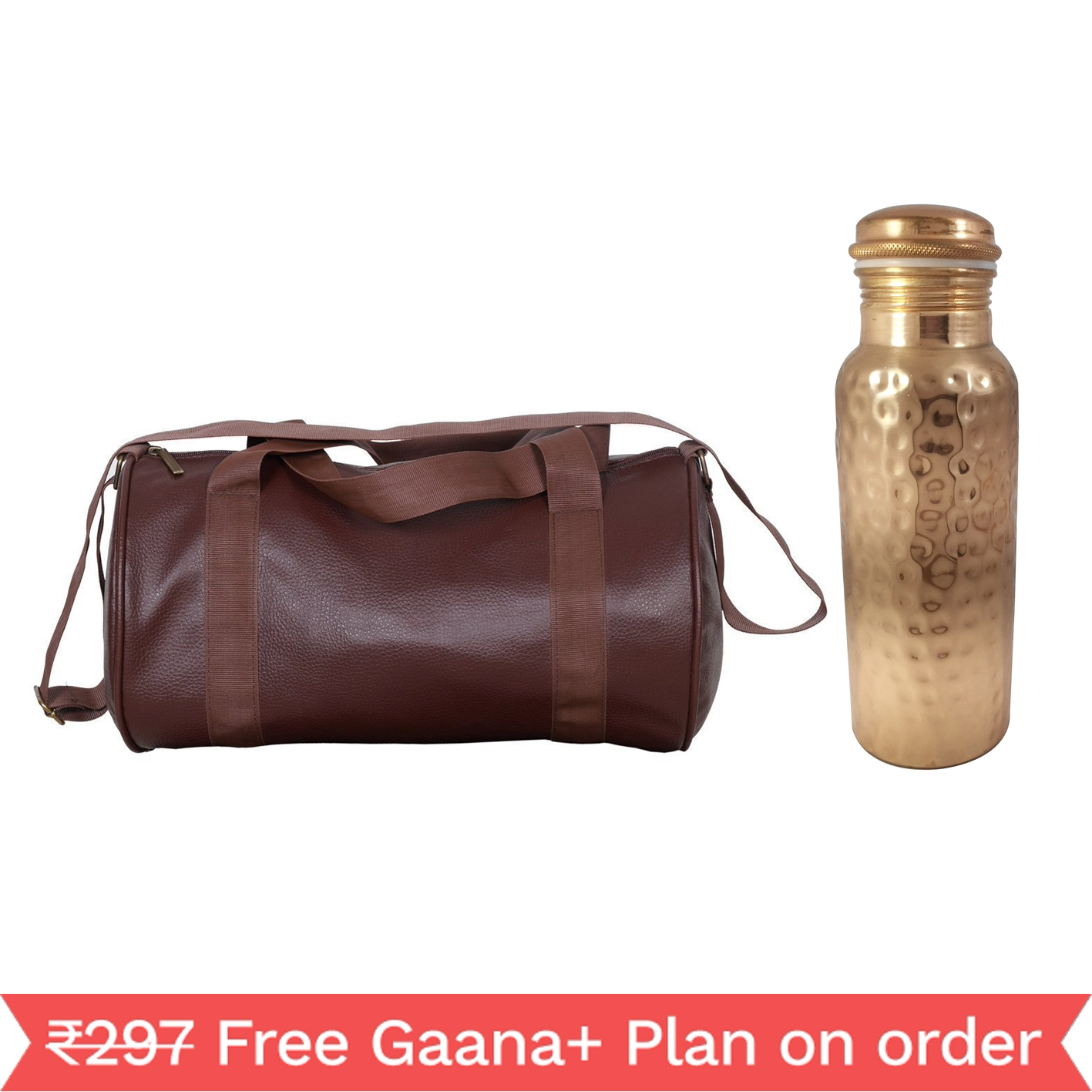 1 Copper 1000ml bottle & 1 Gym Bag - Diamond  1000 GymBag Coffe