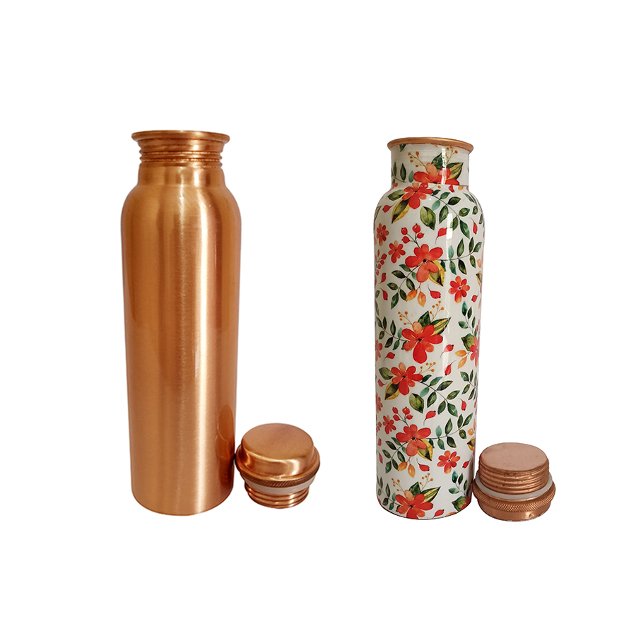 1 Bottle 750ml & 2nd Bottle 750ml - Plain Copper  750Ml Orange Flower Copper  750ml