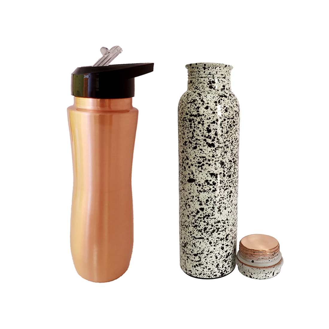 1 Sipper 750Ml and 1 Copper Bottle 750Ml - sports sipper 750ML Doted Printed Copper Bottle 750ml