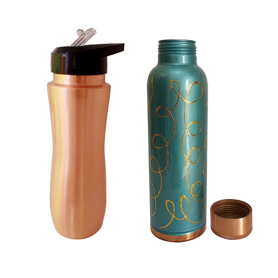 1 Sipper 750Ml and 1 Copper Bottle 750Ml - sports sipper 750ML Meena Firozi Copper Rounded Bottle 750ml