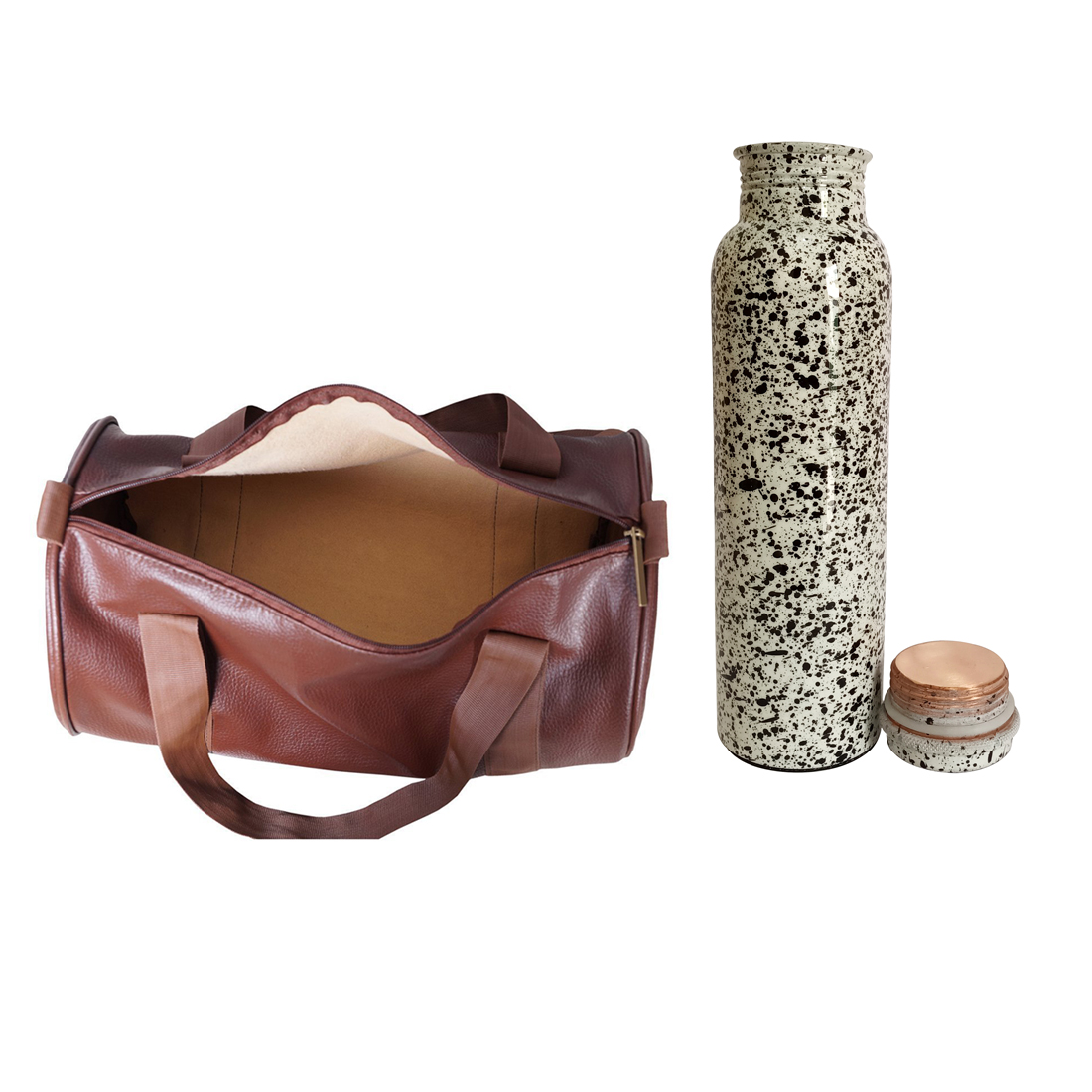 1 Copper 1000ml bottle & 1 Gym Bag - Doted Printed   1000 GymBag Coffe
