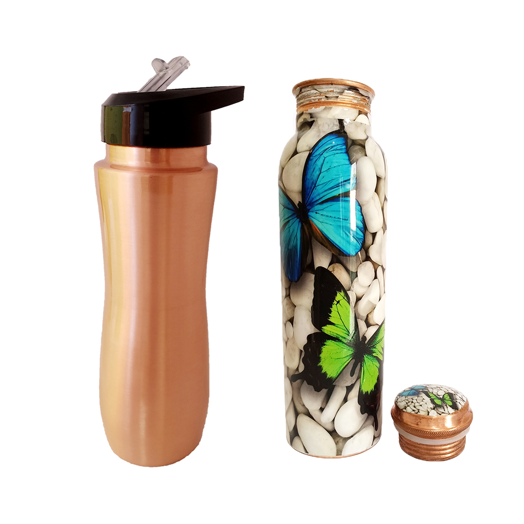 1 Sipper 750Ml and 1 Copper Bottle 750Ml - sports sipper 750ML Butterstone Copper Bottle 750ML