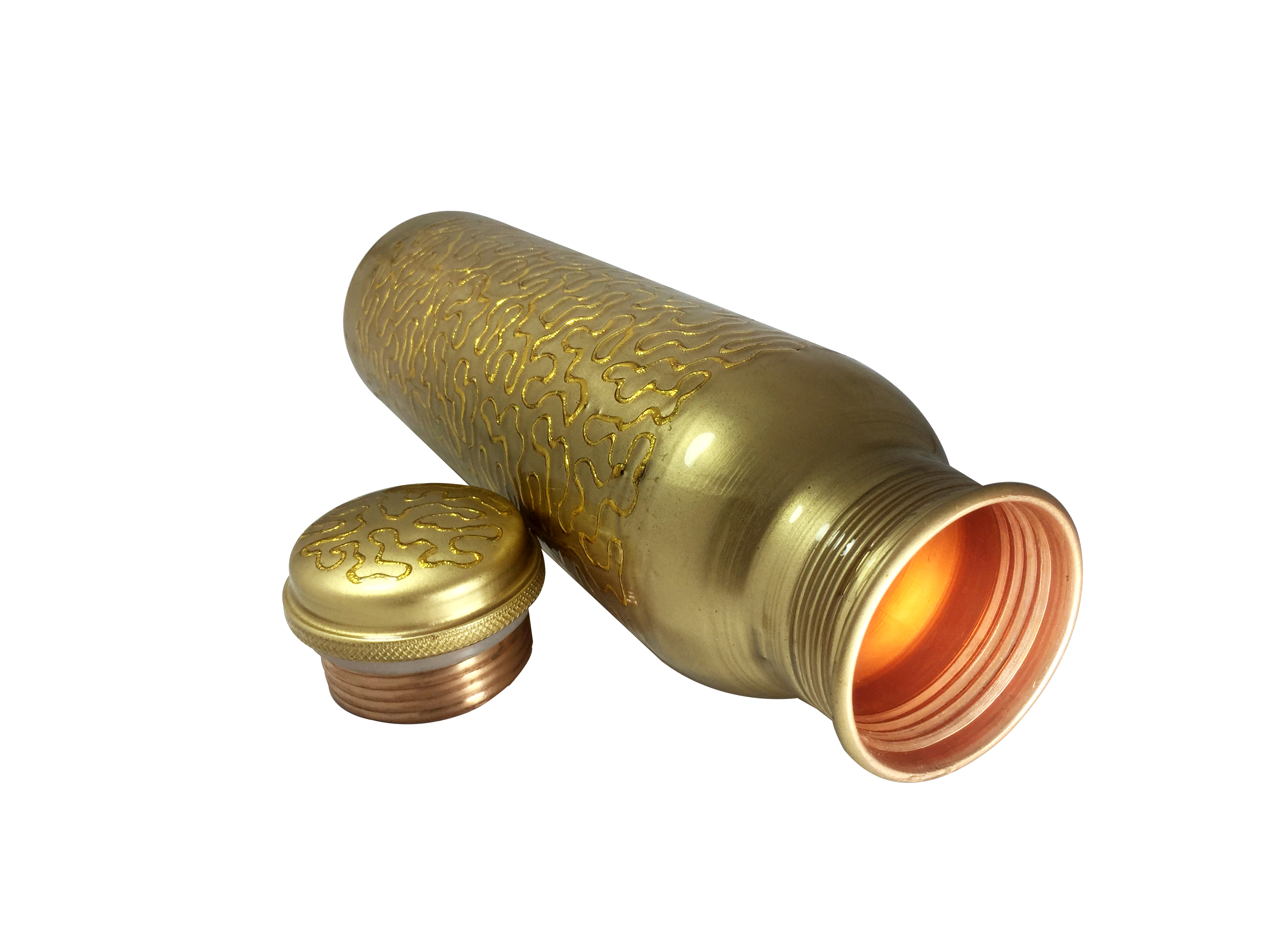 1 Sipper 750Ml and 1 Copper Bottle 750Ml - sports sipper 750ML Embroided Golden Copper Bottle 750