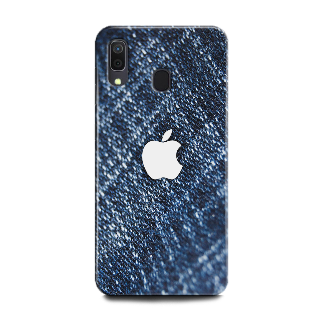 INDICRAFT Mobile Back Cover For Samsung Galaxy A20 Hard Case (Apple, Apple Logo, Apple Sign, Apple Embolem, Jeans, Blue, Abstract, Texture, Fabric, A20) (AB-GalaxyA20-0722)