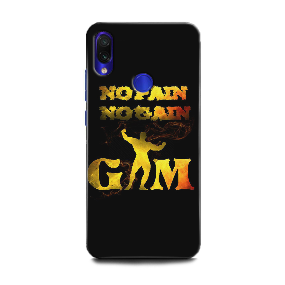INDICRAFT Mobile Back Cover For Mi Redmi Note 7 / Hard Case (Gym, Fitness, Workout GYM, NO PAIN NO GAIN, Motivation, Inspiration, BodyBuilder, Sports, MZB7266IN) (AB-RedmiNote7-0198)