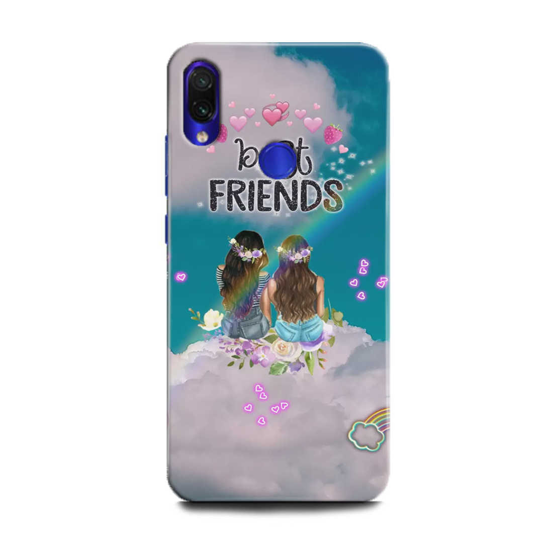 INDICRAFT Mobile Back Cover For Mi Redmi 7 / Hard Case (Friend, Best Friends, Forever, Girls, Tru, Sky, Love, Heart) - AB-Redmi7-0777