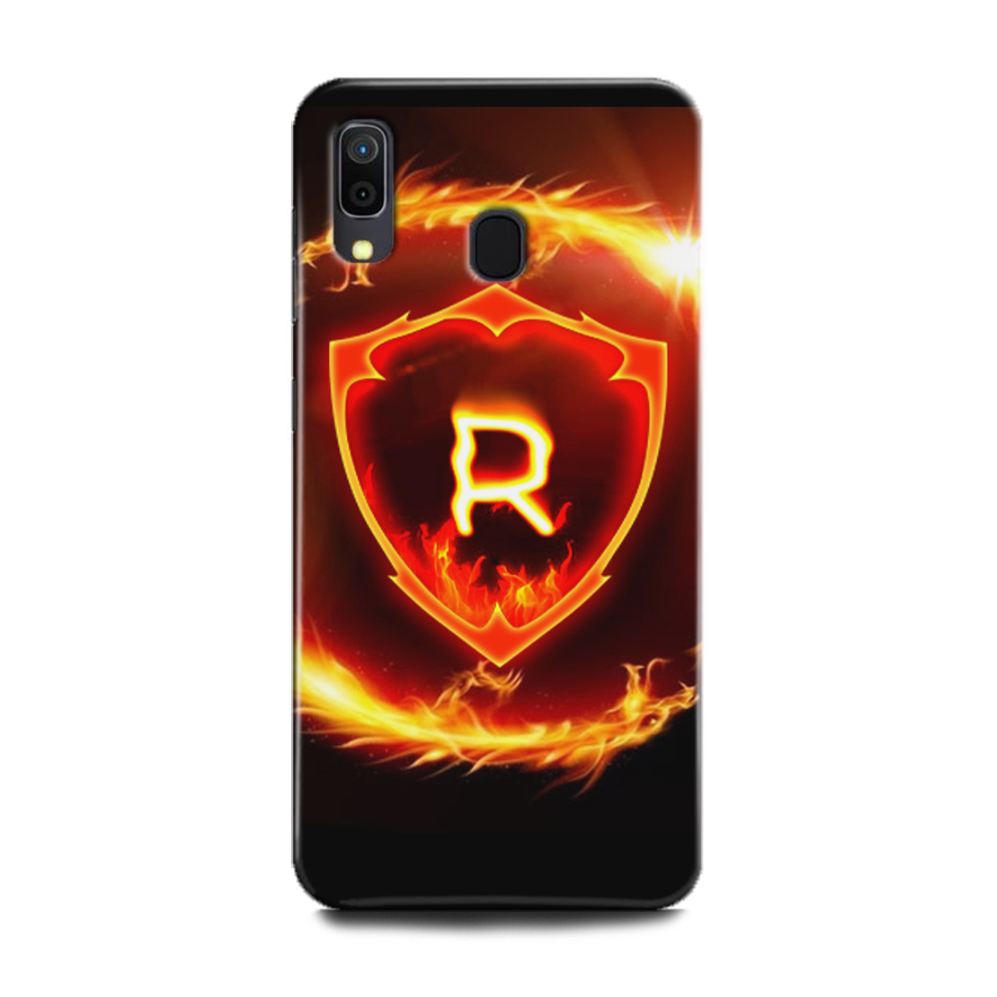 INDICRAFT Mobile Back Cover For Samsung Galaxy A20 Hard Case (R, R Letter, Fire, R Name, R Alphabet, Design, A20) (AB-GalaxyA20-0836)