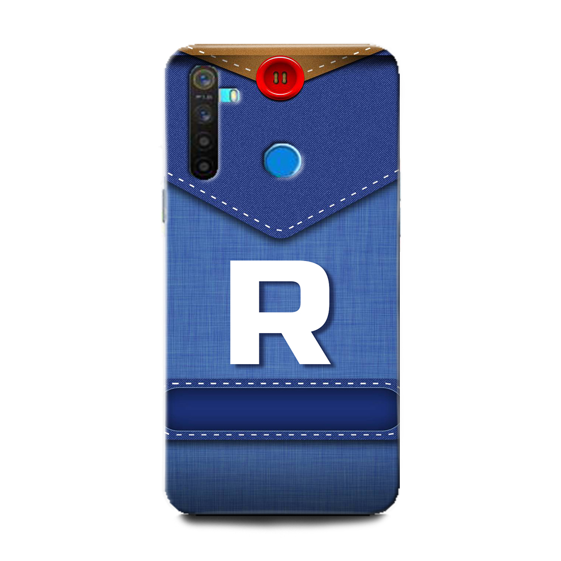 INDICRAFT Mobile Back Cover For Realme 5i Hard Case (R, R Letter, R Name, Blue, Jeans, R Alphabet, Design, Letter, Alphabet, RMX2030) (AB-Realme5i-0940)