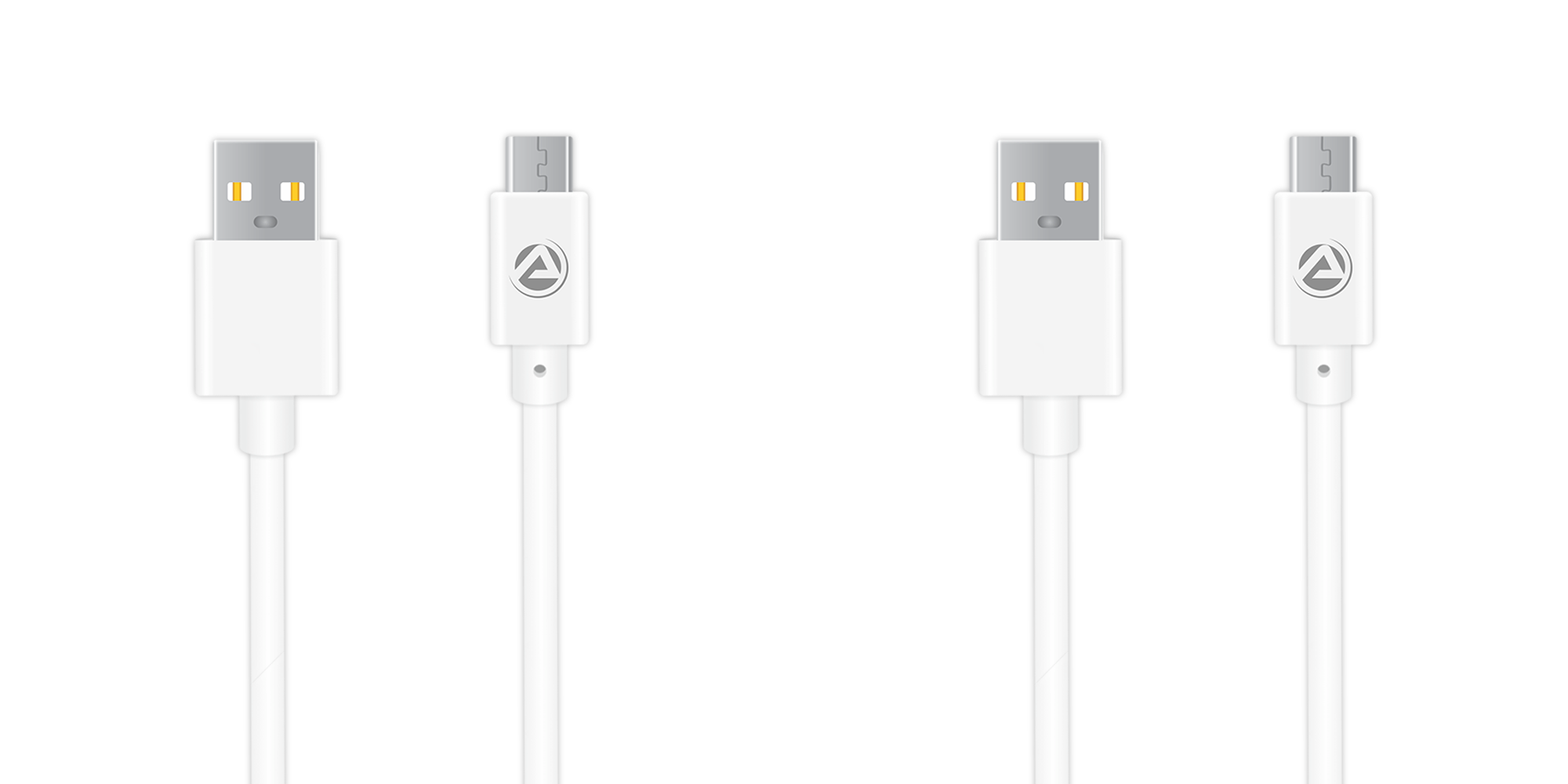 ARU ARA-11 1Mtr, 2.4Amp PVC Micro USB Charge & Sync Cable - Black - White Pack Of 2