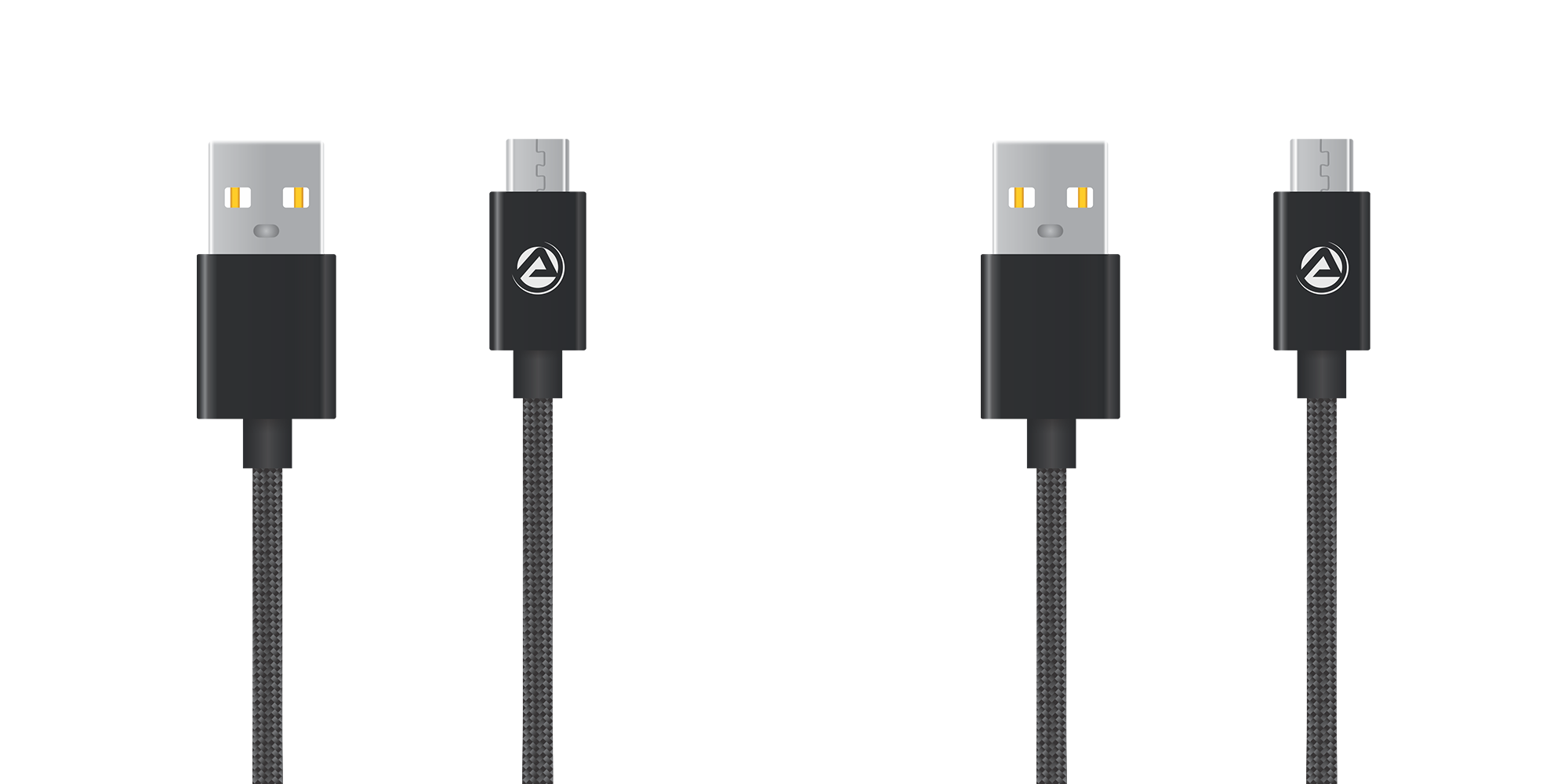 ARU ARA-33 1Mtr 2.4 Amp Breaded Micro USB Charge & Sync Cable - Black Pack of 2