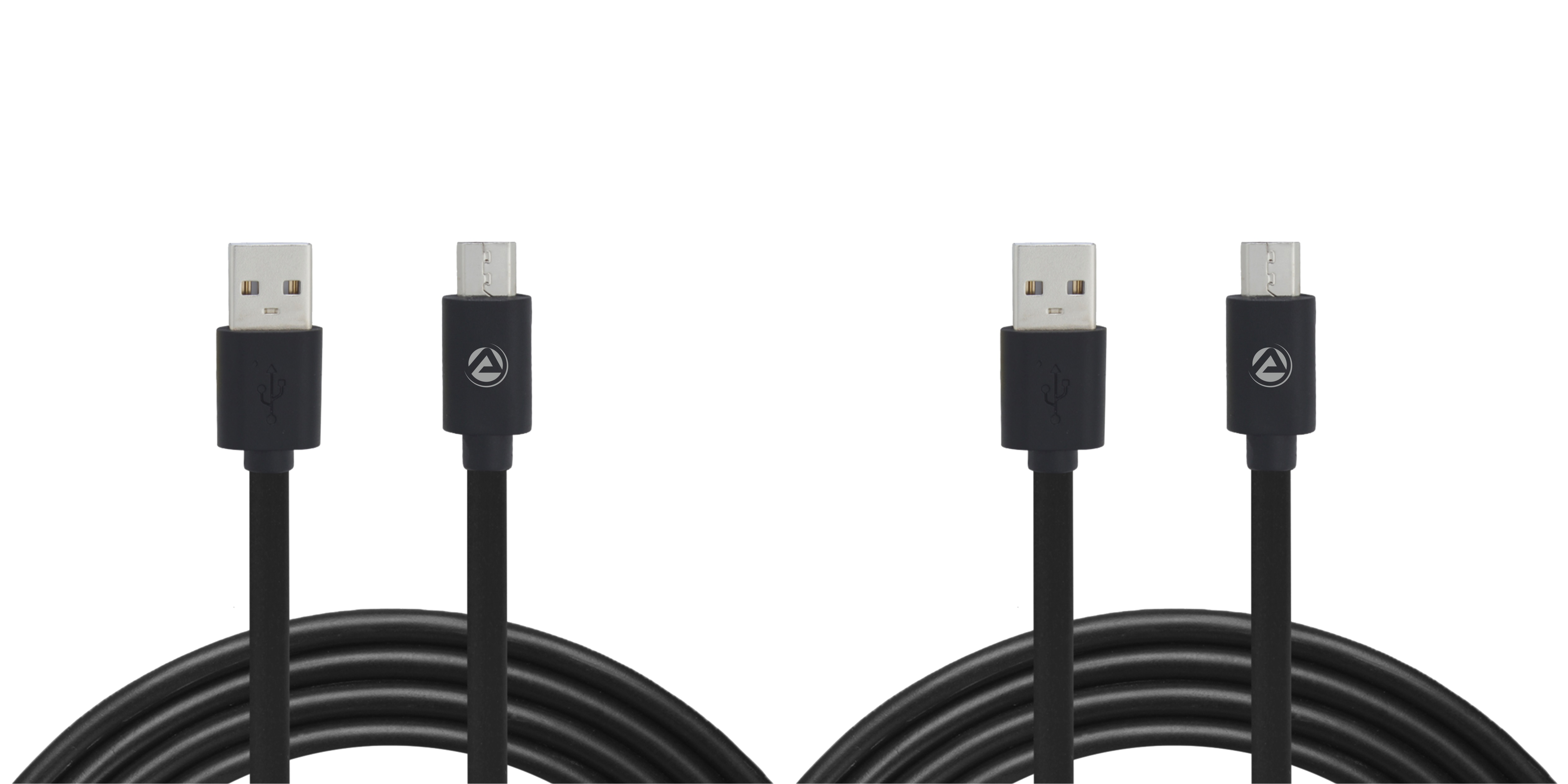 ARU ARA-11 1Mtr, 2.4Amp PVC Micro USB Charge & Sync Cable - Black - Black Pack Of 2