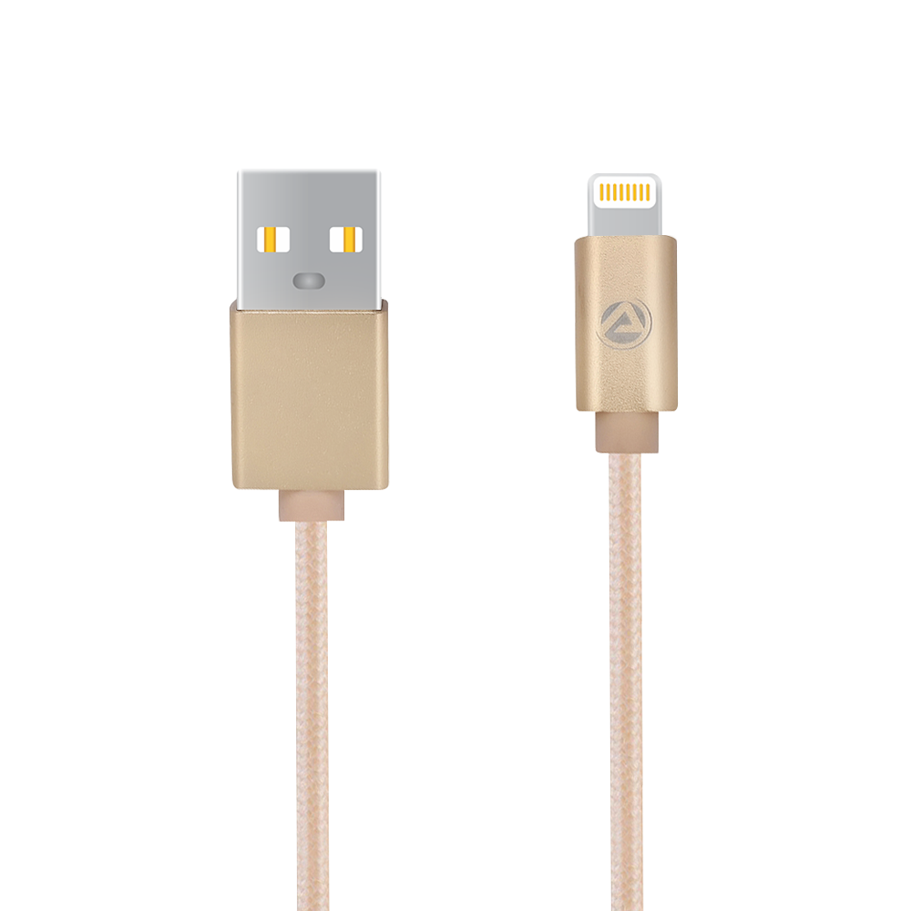 ARU ARI-33 1Mtr 2.4 Amp Breaded Lightening Charge & Sync Cable - Gold