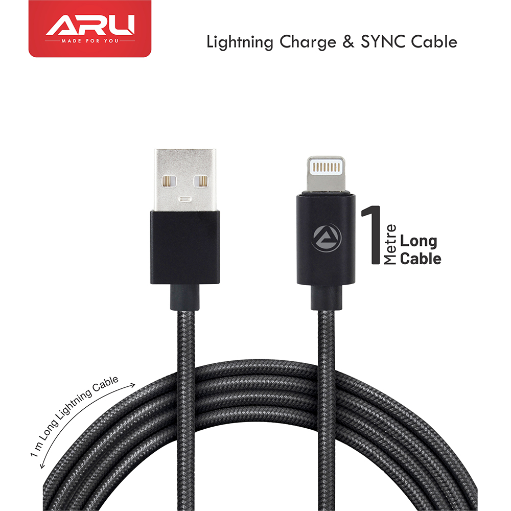 ARU ARI-33 1Mtr 2.4 Amp Breaded Lightening Charge & Sync Cable - Black - Black Pack Of 2