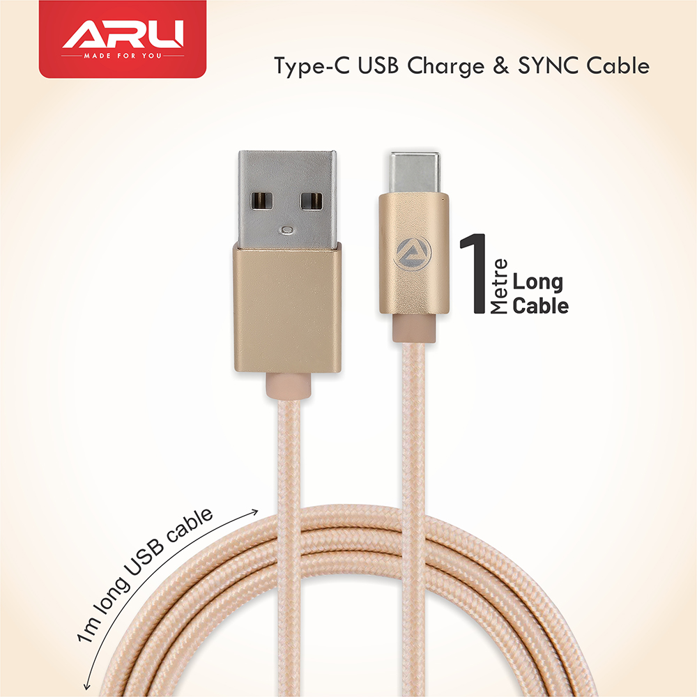 ARU ARC-33 1Mtr 2.4 Amp Breaded Type C Charge & Sync Cable - Black - Gold Pack Of 2