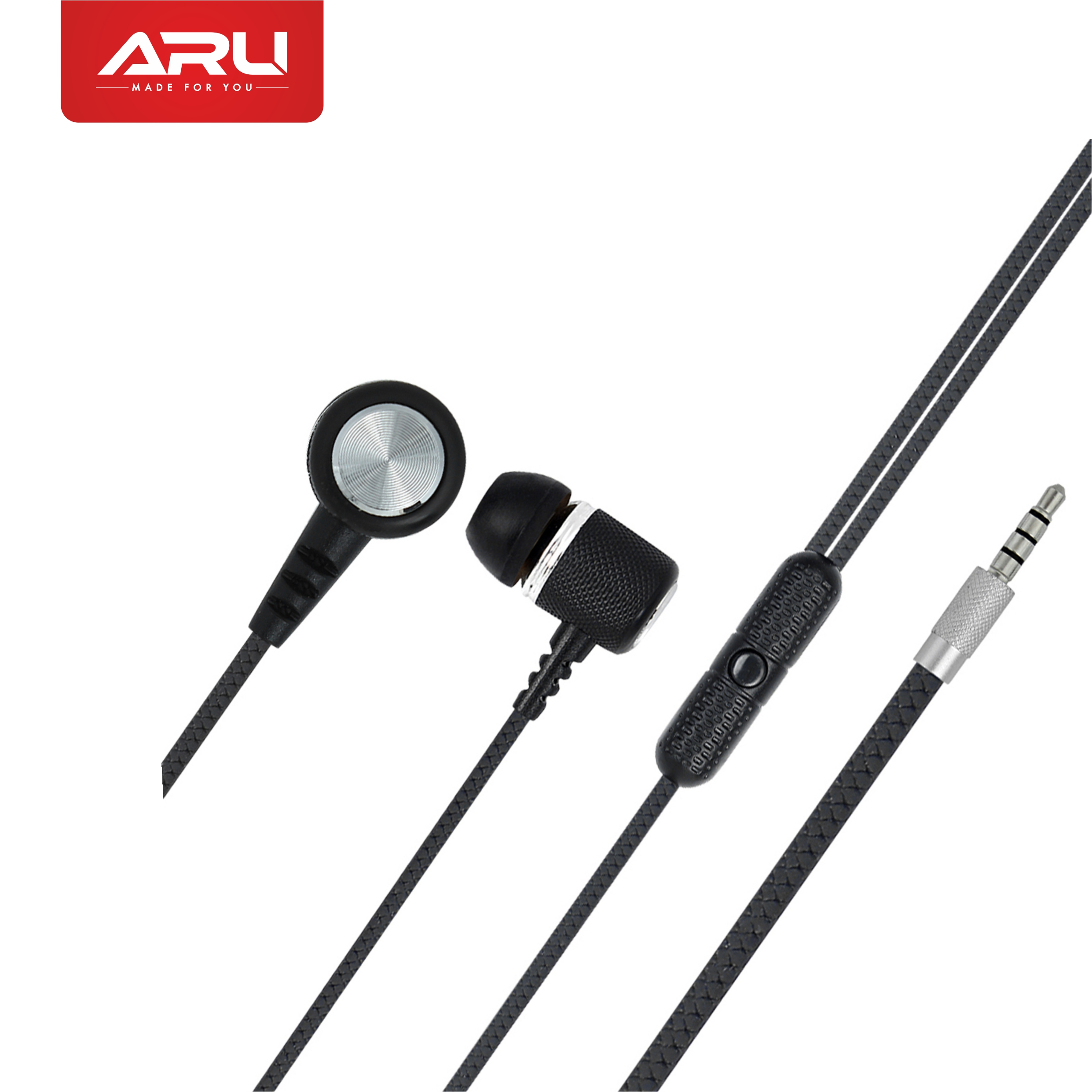 ARU AEP-44 Universal in Ear Headset with Mic - Black