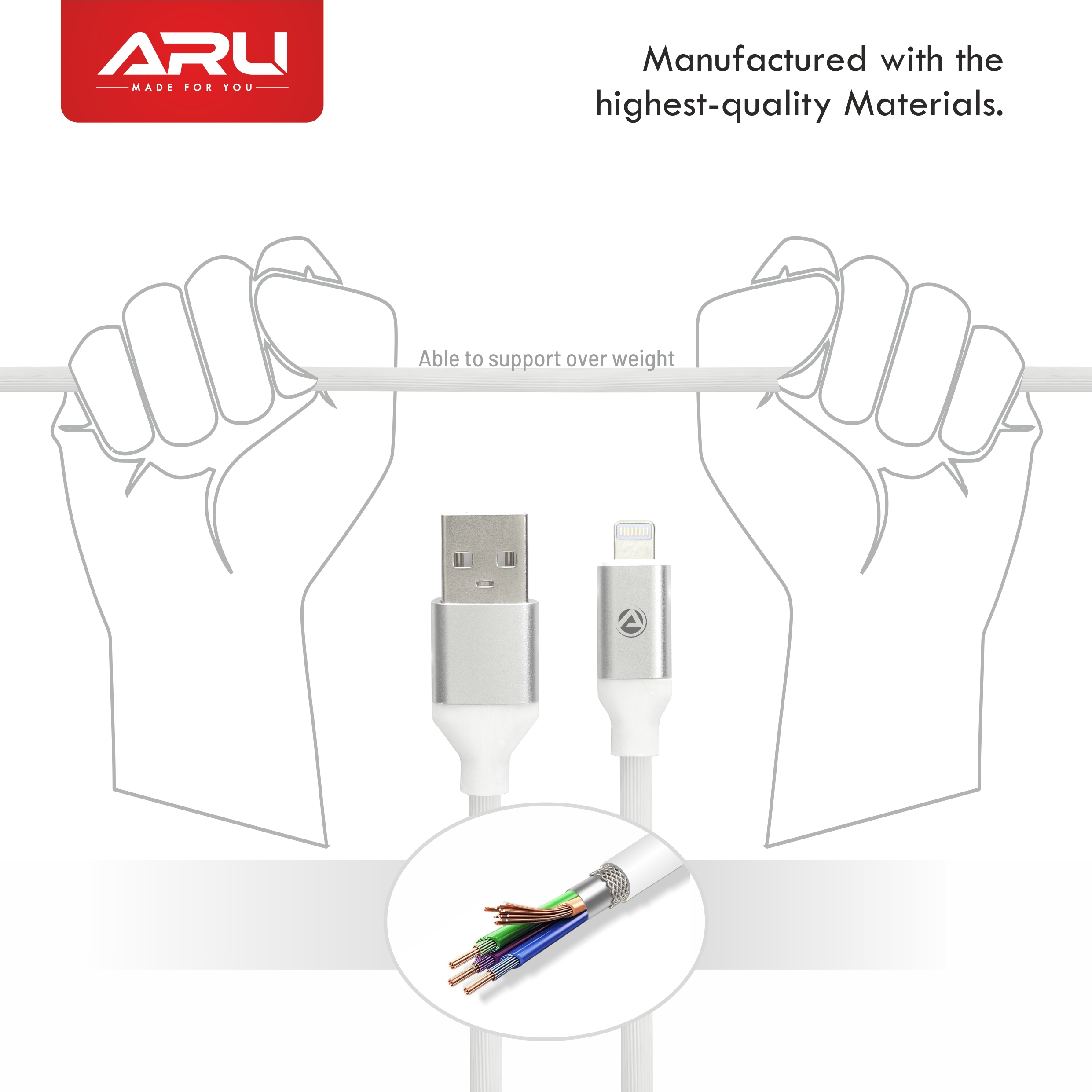 ARU ARI-55 1Mtr,2.4 Amp TPE Lining Lightening Charge & Sync Cable - Black - White Pack Of 2