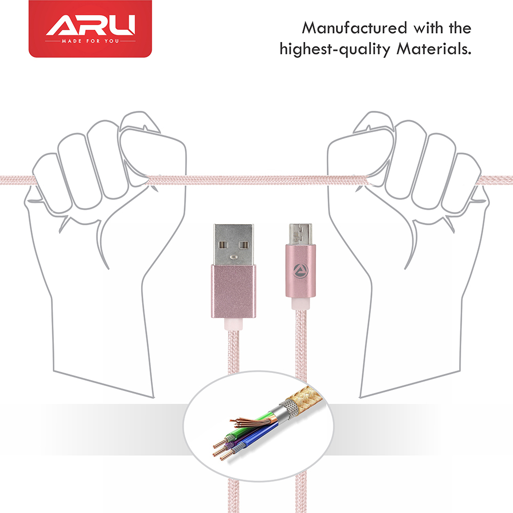 ARU ARA-33 1Mtr 2.4 Amp Breaded Micro USB Charge & Sync Cable - Pink