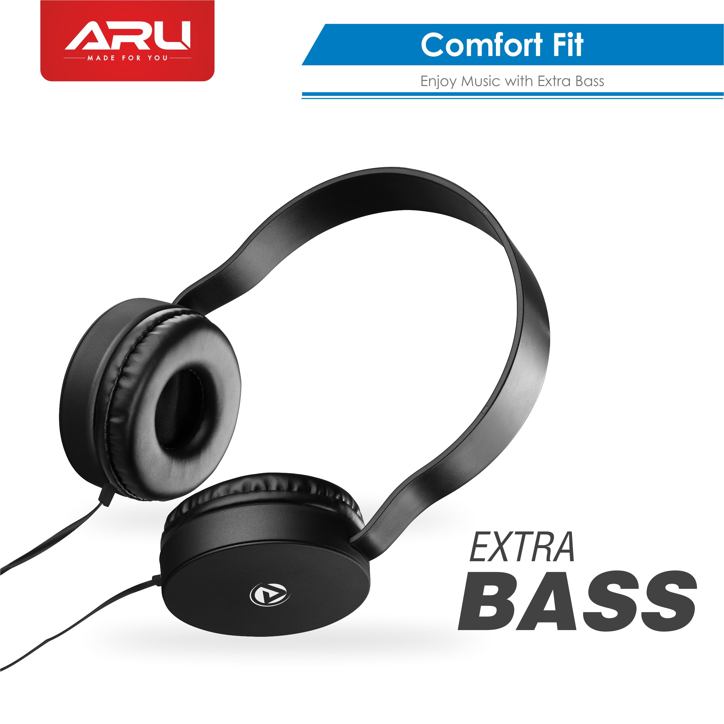 ARU AWH-92 Wired Headphone with Mic - Black - Black Pack Of 2