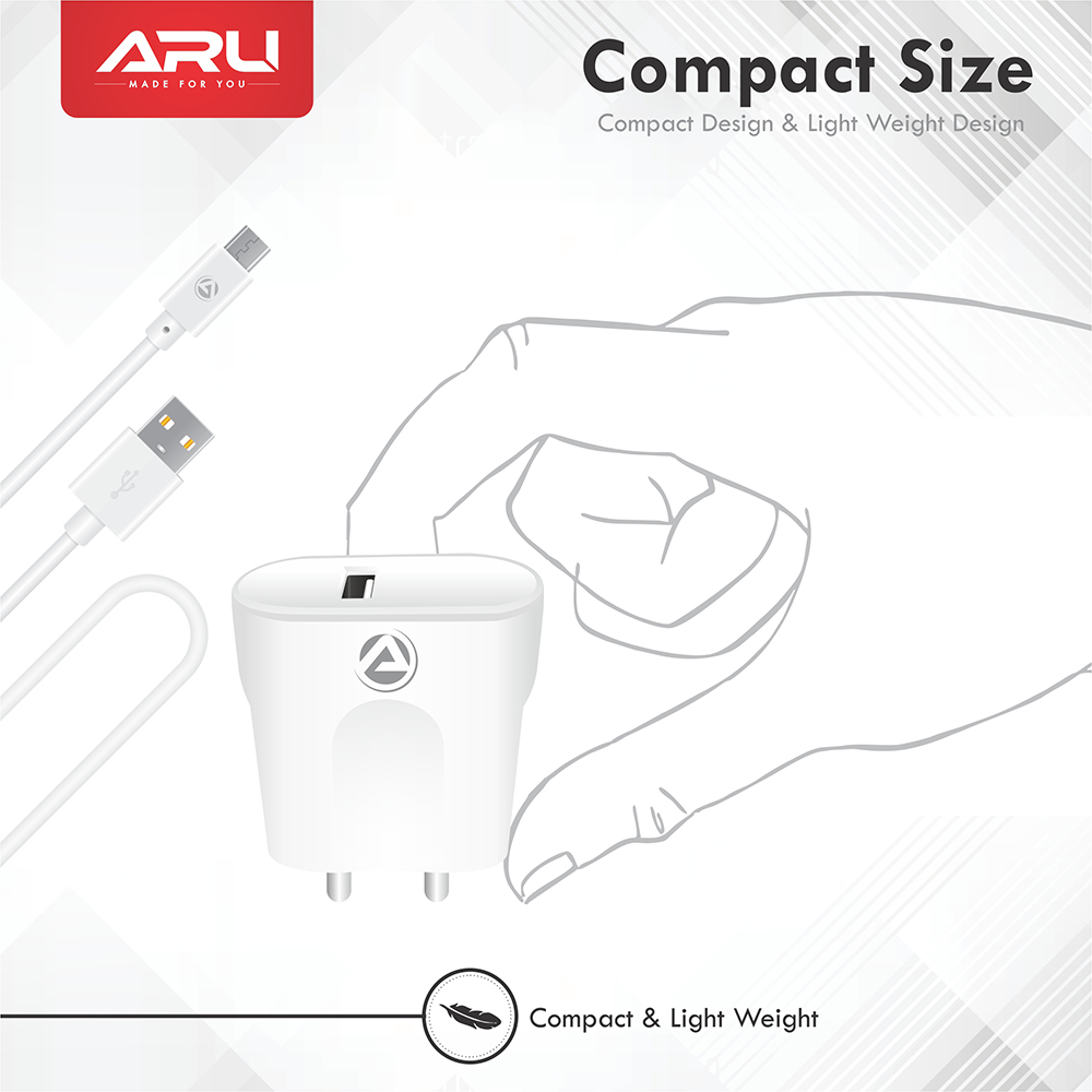 ARU ARQ-30 Quick Charge QC 3.0 Fast Charger with Charge & Sync Cable