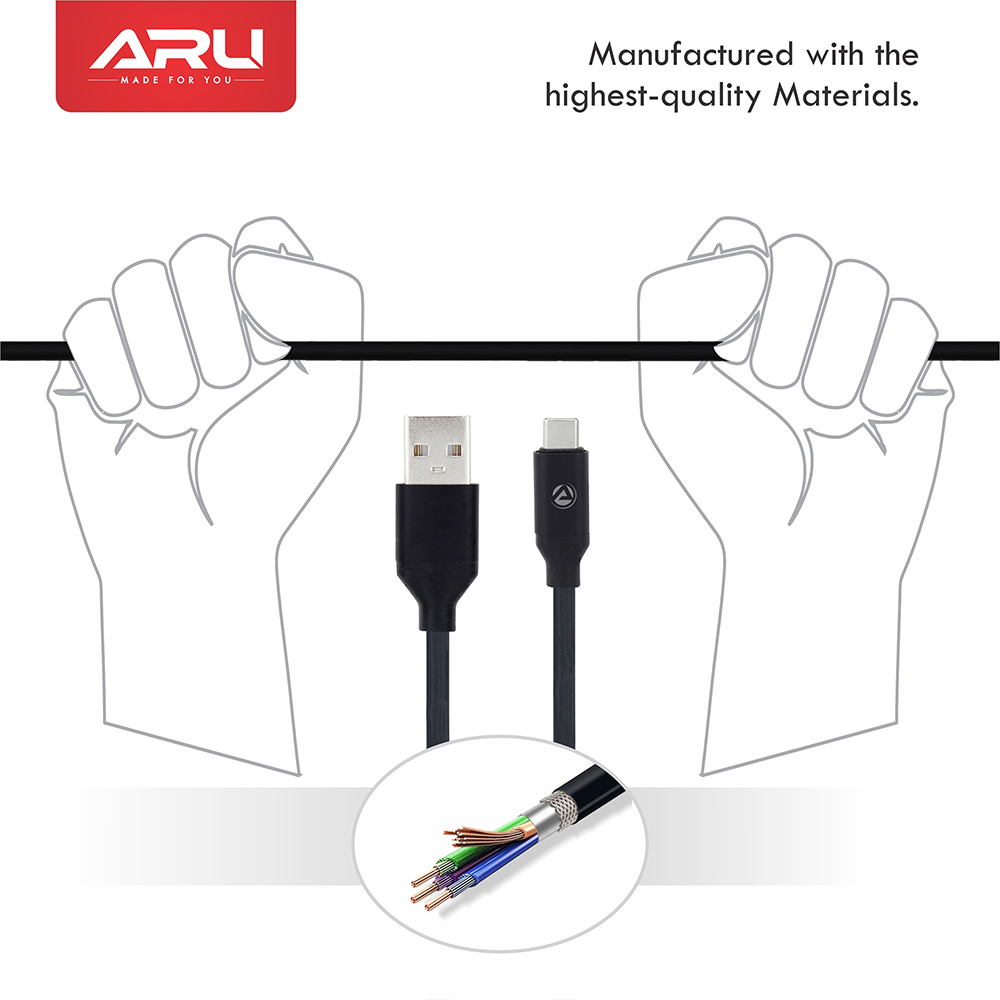 ARU ARC-22 1Mtr 2.4 Amp TPE Type C Charge & Sync Cable - Black Pack of 2