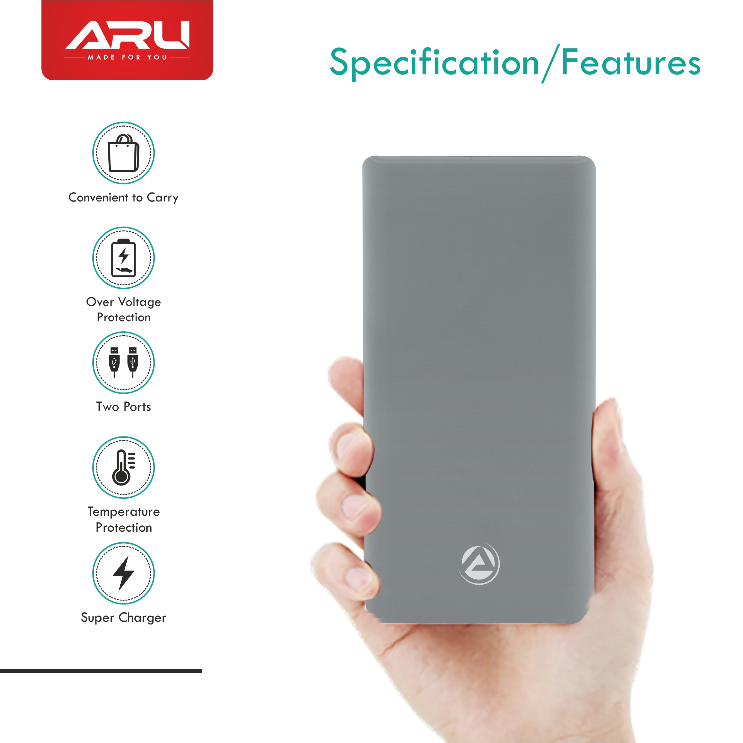 ARU APB-3010 Smallest 20000mAh Li-Polymer Power Bank - Grey
