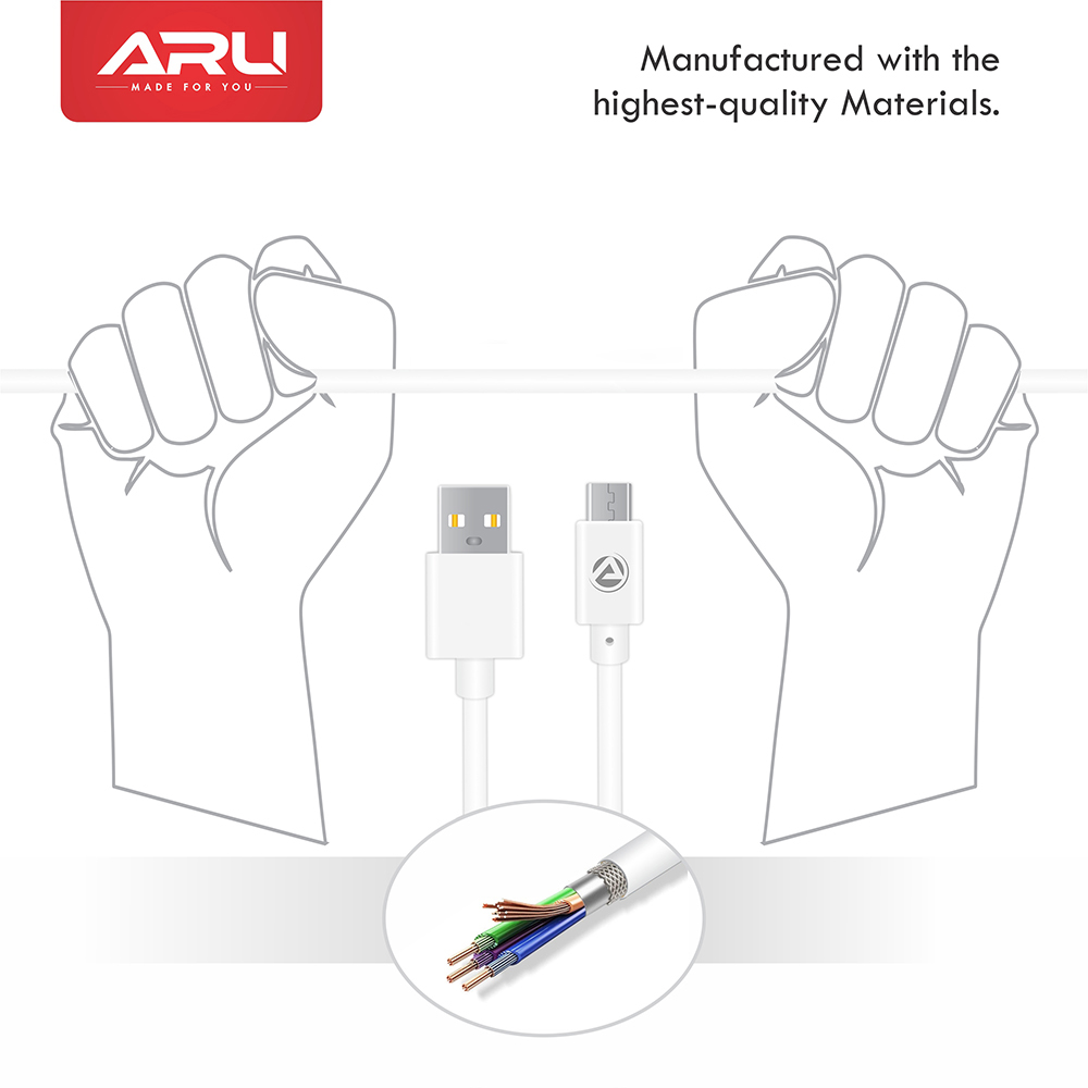 ARU ARA-11 1Mtr, 2.4Amp PVC Micro USB Charge & Sync Cable - White