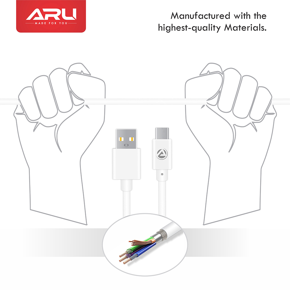 ARU ARC-11 1Mtr, 2.4 Amp PVC Type C Charge & Sync Cable - White