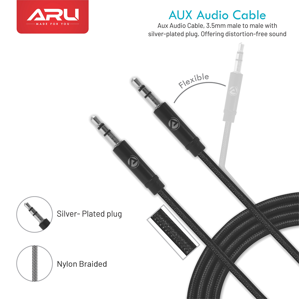 ARU ARX-11 1 Meter Braided Aux Cable - Black