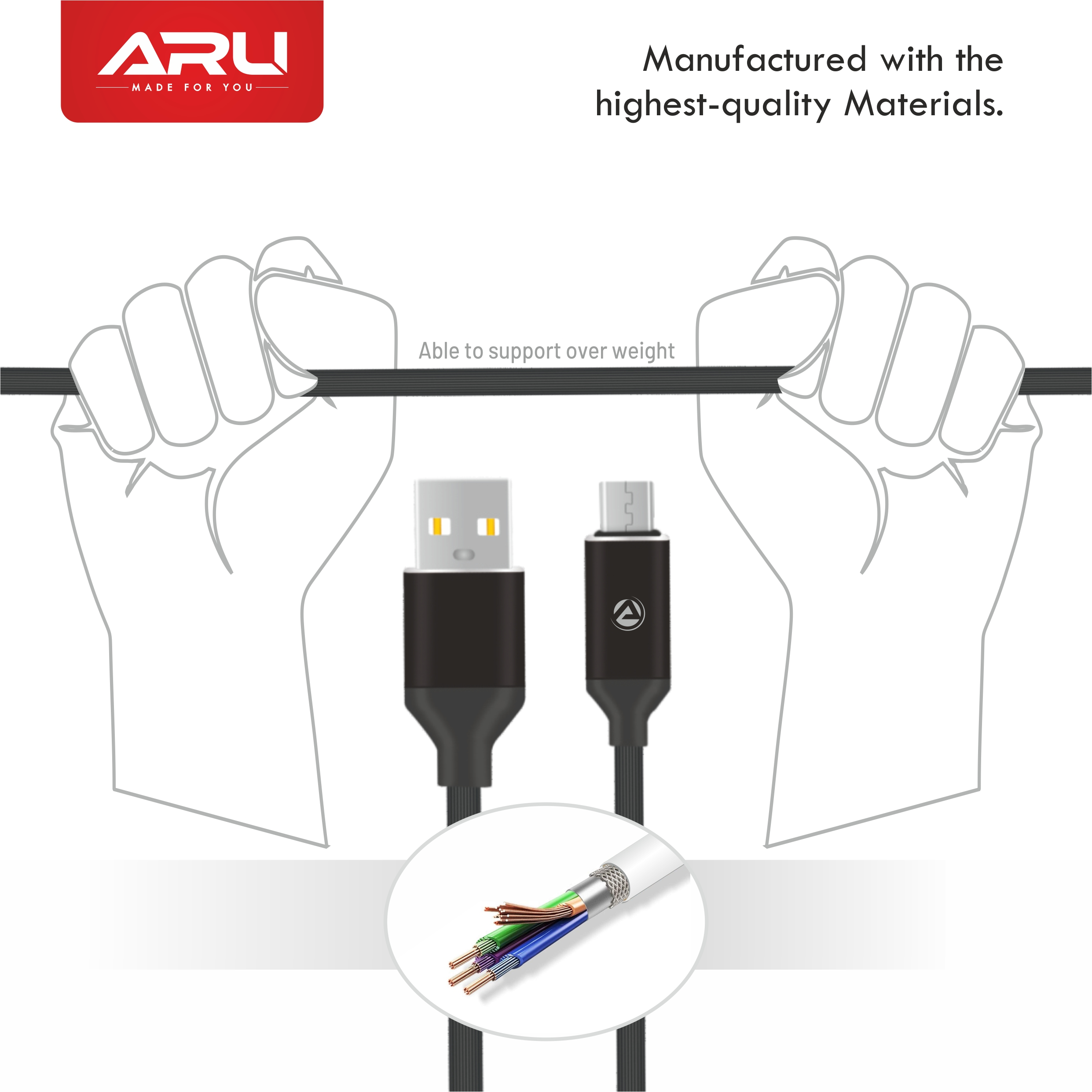 ARU ARA-55 1Mtr,2.4 Amp TPE Lining Micro USB Charge & Sync Cable - Black