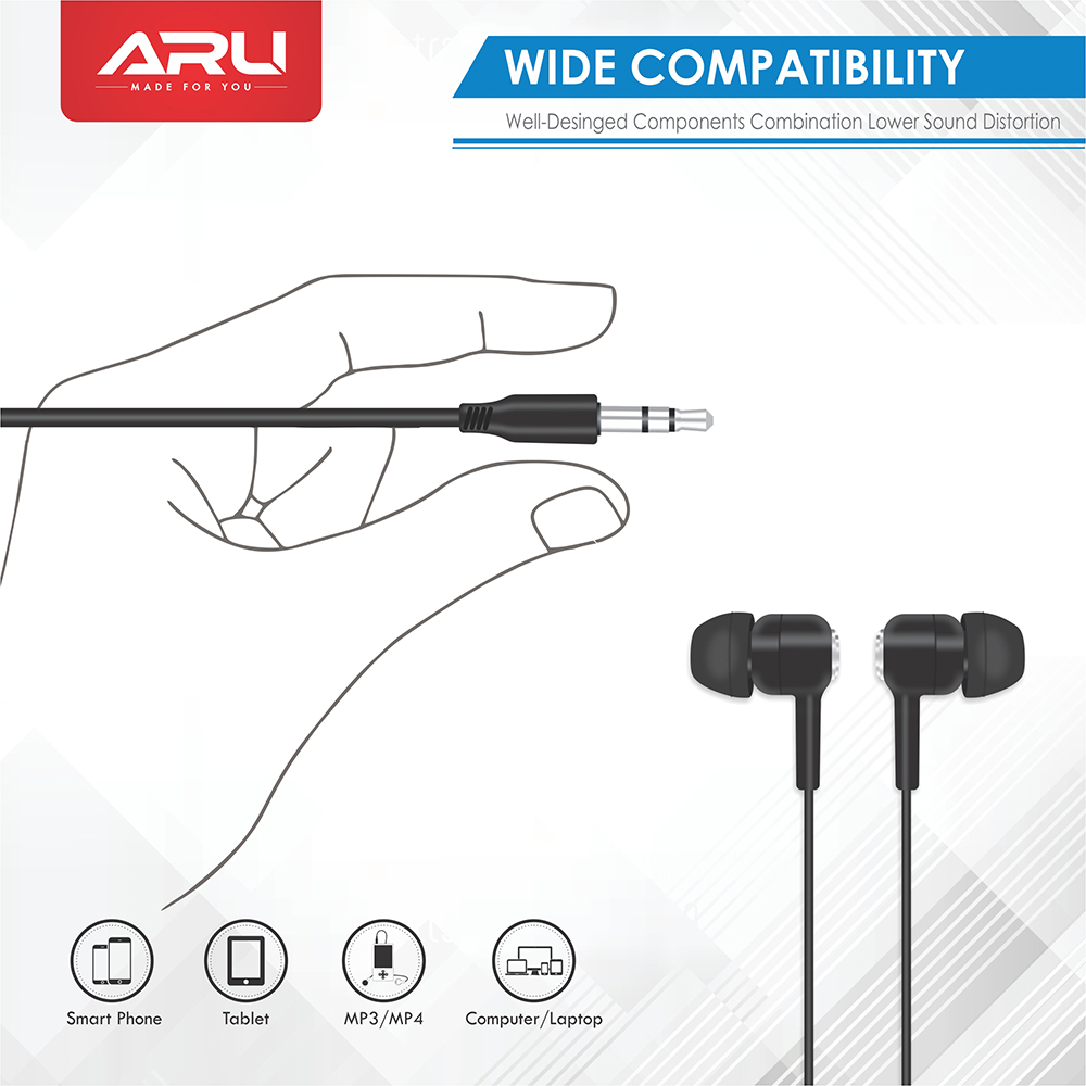 ARU AEP-10 Champ in Ear Headet with Mic - Black - Black Pack Of 2