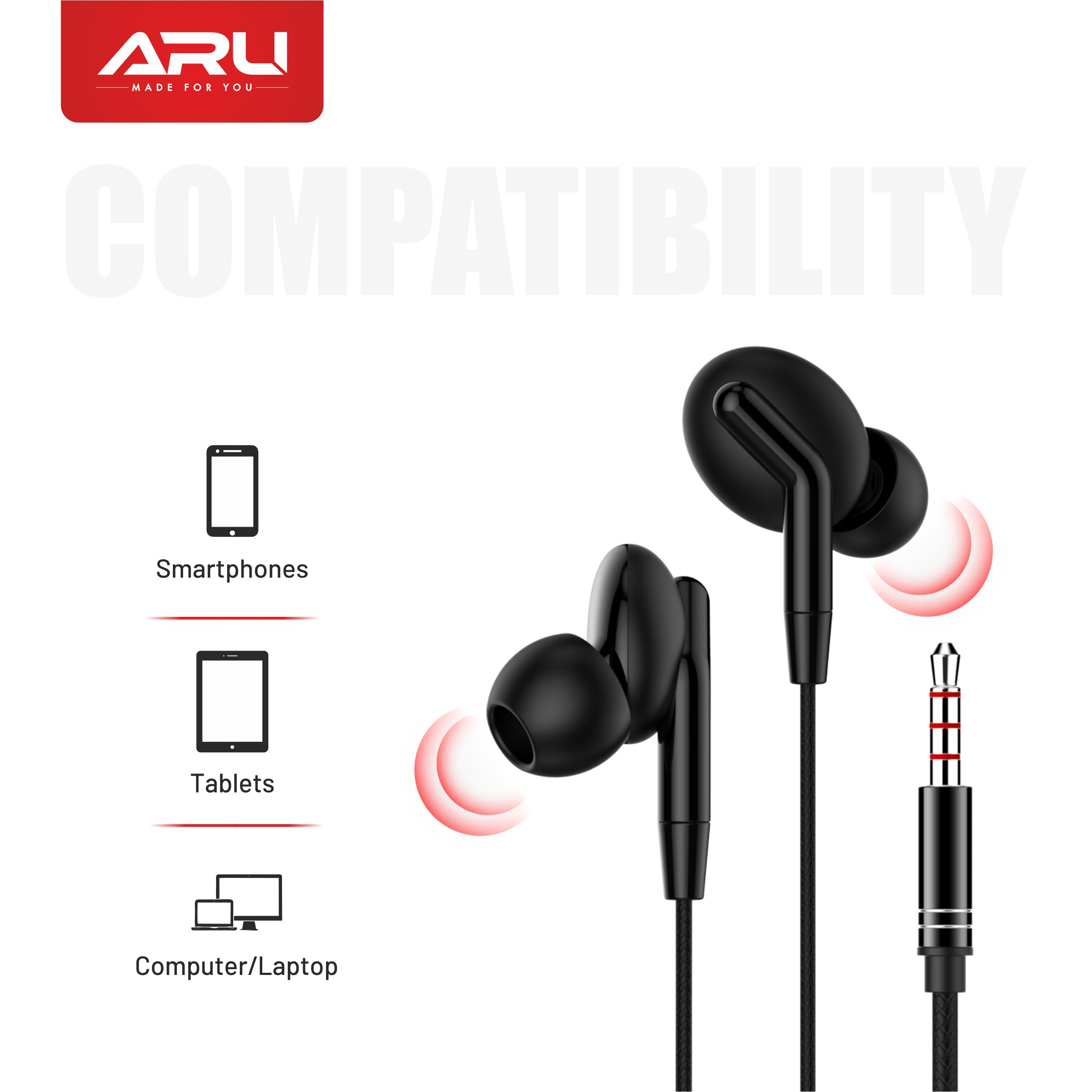 ARU AEP-92 Universal In Ear Headset With Mic-Black