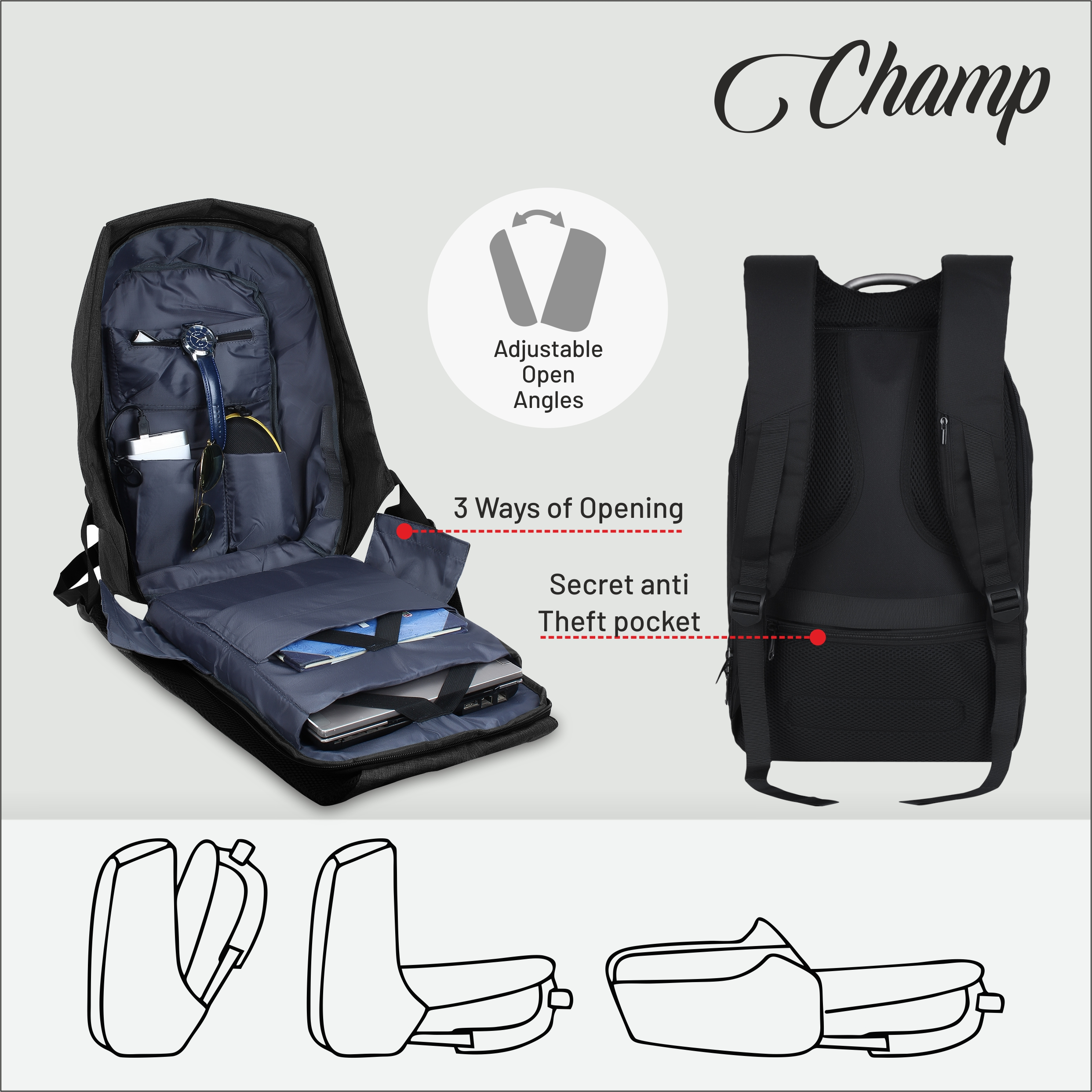 Trovo Anti Theft Laptop Backpack Champ  TLB-83