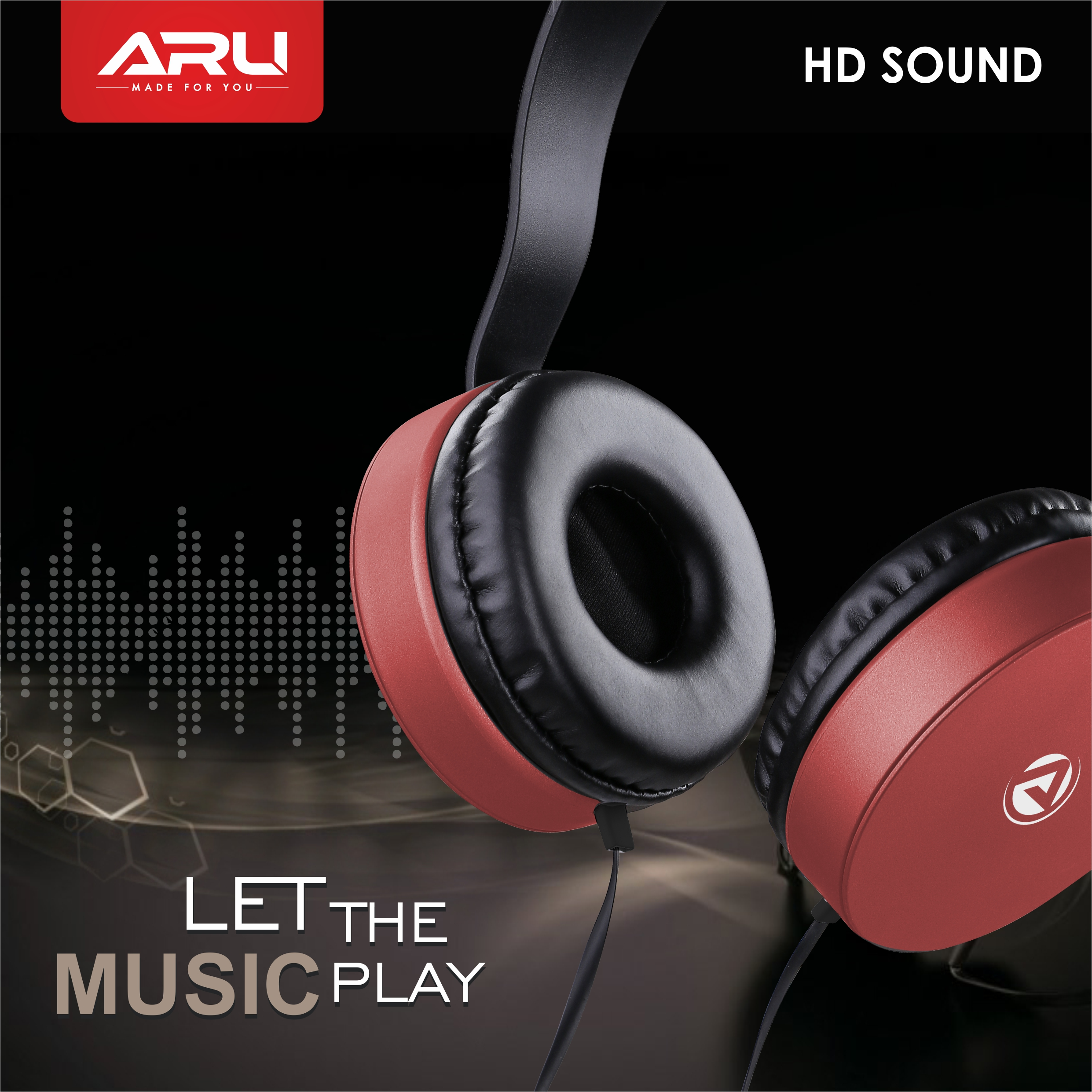 ARU AWH-92 Wired Headphone with Mic - Red