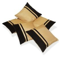 Zikrak Exim Beige & Brown Striped Dupion Silk Cushion Covers Set of 5  (40 x40 Cms)