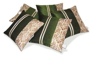 Zikrak Exim Beige & Green Striped Dupion Silk Cushion Covers Set of 5  (40 x40 Cms)