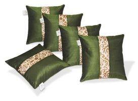 Zikrak Exim Green & Beige Striped Dupion Silk Cushion Covers Set of 5  (40 x40 Cms)