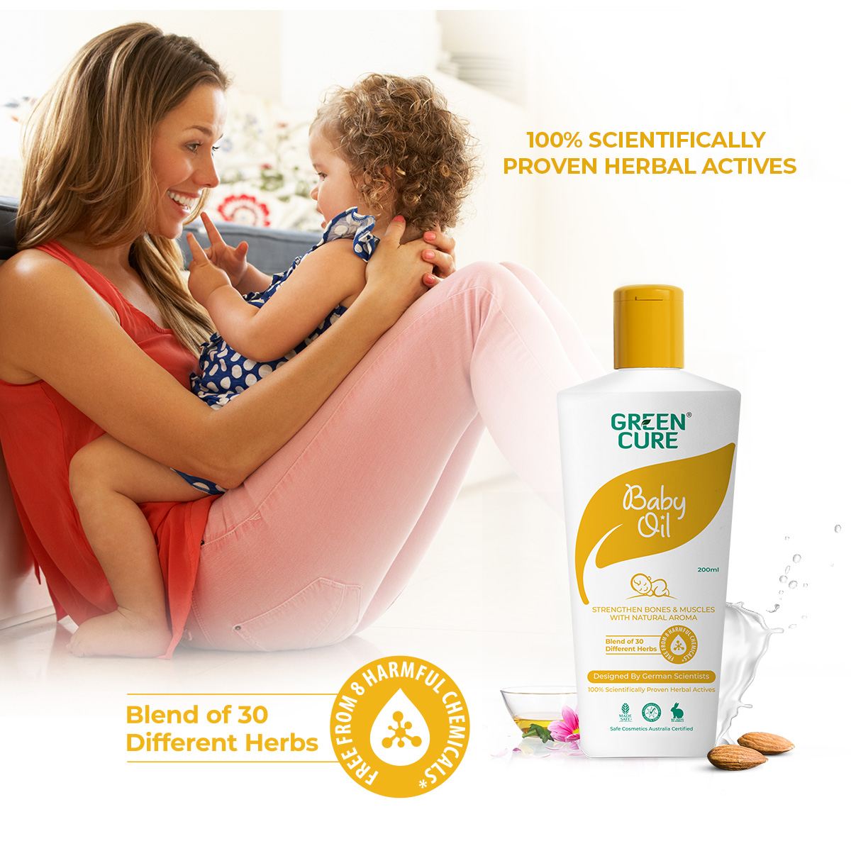 Greencure Natural Baby Oil Strengthens Bones & Muscles, Good for Blood Circulation (200ml)
