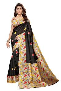 Anni Designer Black Silk Blend Saree With Blouse