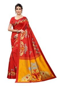 Anni Designer Red Khadi Saree With Blouse