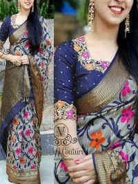 Anni Designer Navy Blue Silk Blend Saree With Blouse
