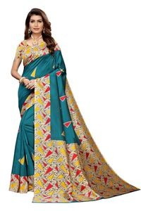 Anni Designer Teal Silk Blend Saree With Blouse