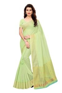 Anni Designer Green Silk Blend Saree With Blouse