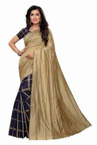 Anni Designer Blue Cotton Blend Saree With Blouse