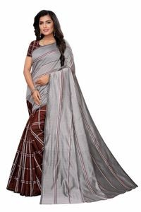 Anni Designer Brown Cotton Blend Saree With Blouse