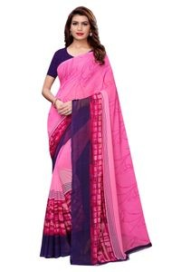 Anni Designer Pink Faux Georgette Saree With Blouse